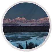 Denali Morning Blue Round Beach Towel