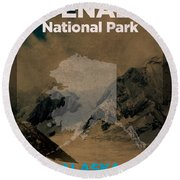Denali National Park In Alaska Travel Poster Series Of National Parks Number 14 Round Beach Towel