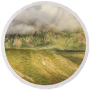 Denali National Park Mountain Under Clouds Round Beach Towel