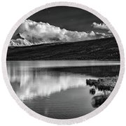 Denali Reflections In Black And White Round Beach Towel