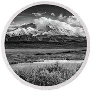 Denali, The High One In Black And White Round Beach Towel
