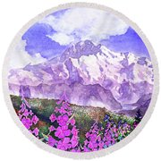 Denali With Fireweed Round Beach Towel