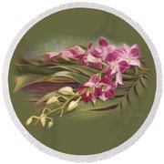 Dendrobium Orchids Round Beach Towel