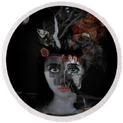 Round Beach Towel featuring the digital art Denial's Child by Nola Lee Kelsey