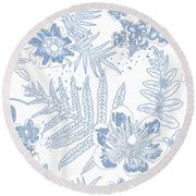 Denim Fern Batik Outline Round Beach Towel
