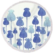 Round Beach Towel featuring the digital art Denim Poppy Heads by Zaira Dzhaubaeva