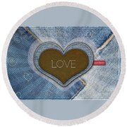 Denim Valentines Card Round Beach Towel