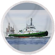 Round Beach Towel featuring the painting Denise Foss by James Williamson