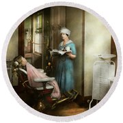 Round Beach Towel featuring the photograph Dentist - Patients Is A Virtue 1920 by Mike Savad
