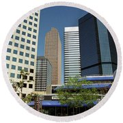 Round Beach Towel featuring the photograph Denver Architecture by Frank Romeo