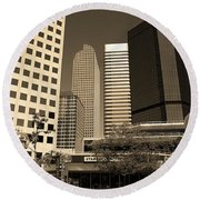 Round Beach Towel featuring the photograph Denver Architecture Sepia by Frank Romeo