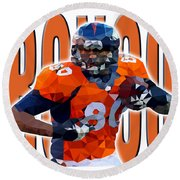 Denver Broncos Round Beach Towel by Stephen Younts
