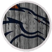 Denver Broncos Wood Fence Round Beach Towel