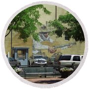 Round Beach Towel featuring the photograph Denver Cowboy Parking by Frank Romeo