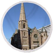 Round Beach Towel featuring the photograph Denver Downtown Church by Frank Romeo