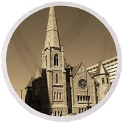 Round Beach Towel featuring the photograph Denver Downtown Church Sepia by Frank Romeo