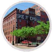 Round Beach Towel featuring the photograph Denver Downtown Warehouse by Frank Romeo