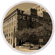Round Beach Towel featuring the photograph Denver Downtown Warehouse Sepia by Frank Romeo