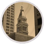 Round Beach Towel featuring the photograph Denver - Historic D F Clocktower 2 Sepia by Frank Romeo