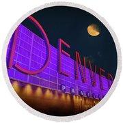 Denver Pavilion At Night Round Beach Towel by Kristal Kraft