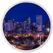 Denver Skyline At Night - Colorado Round Beach Towel