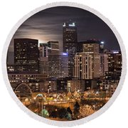 Denver Skyline At Night Round Beach Towel by Juli Scalzi