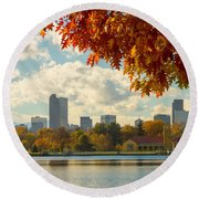 Denver Skyline Fall Foliage View Round Beach Towel