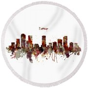 Round Beach Towel featuring the mixed media Denver Skyline Silhouette by Marian Voicu