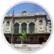 Round Beach Towel featuring the photograph Denver - Union Station Film by Frank Romeo
