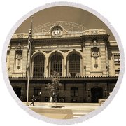 Round Beach Towel featuring the photograph Denver - Union Station Sepia 5 by Frank Romeo