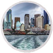 Departing Pier 54 Round Beach Towel by Rob Green