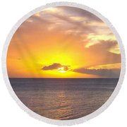 Departing St. Lucia Round Beach Towel
