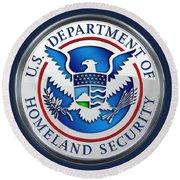 Department Of Homeland Security - D H S Emblem On Blue Velvet Round Beach Towel