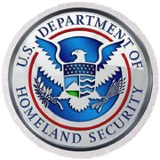Department Of Homeland Security - D H S Emblem On Blue Velvet Round Beach Towel