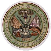 Department Of The U. S. Army Bronze Seal Round Beach Towel
