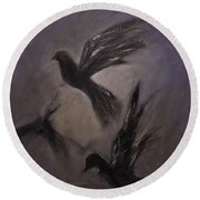 'departure' Birds In Flight Original Bird Painting On Strecthed Canvas Round Beach Towel