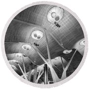 Round Beach Towel featuring the photograph Departure Lounge Madrid Airport by Gary Gillette