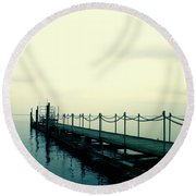 Round Beach Towel featuring the photograph Departure by Rachel Mirror