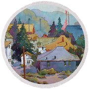 Depot By The River Round Beach Towel
