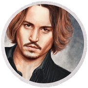 Depp Round Beach Towel by Bruce Lennon