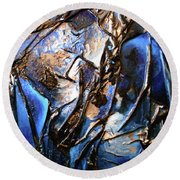 Round Beach Towel featuring the mixed media Depth by Angela Stout