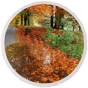 Derbyshire Leafy Lane Round Beach Towel