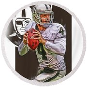 Derek Carr Oakland Raiders Oil Art Round Beach Towel