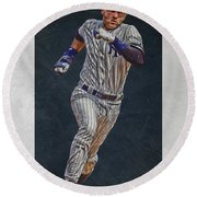 Derek Jeter New York Yankees Art 3 Round Beach Towel by Joe Hamilton