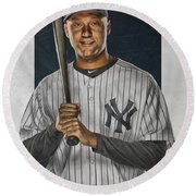 Derek Jeter New York Yankees Art Round Beach Towel by Joe Hamilton