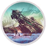Round Beach Towel featuring the painting Derelict Ship by Tithi Luadthong