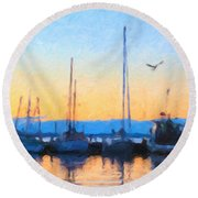 Round Beach Towel featuring the painting Derwent River Sunset by Chris Armytage