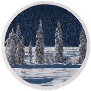 Round Beach Towel featuring the photograph Des Merveilles D'hiver by Dustin LeFevre