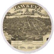 Des Moines Iowa 1875 Round Beach Towel