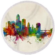 Des Moines Iowa Skyline Round Beach Towel